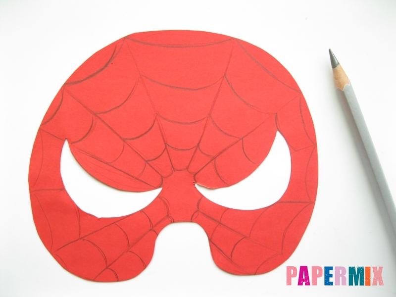 Как сделать маску человека паука из бумаги поэтапно - шаг 5