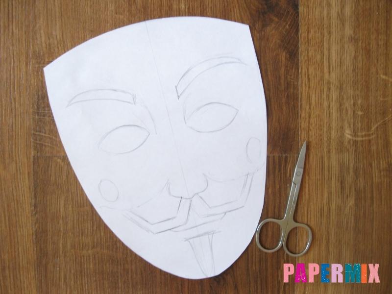 Как сделать маску Гая Фокса из бумаги своими руками - шаг 3