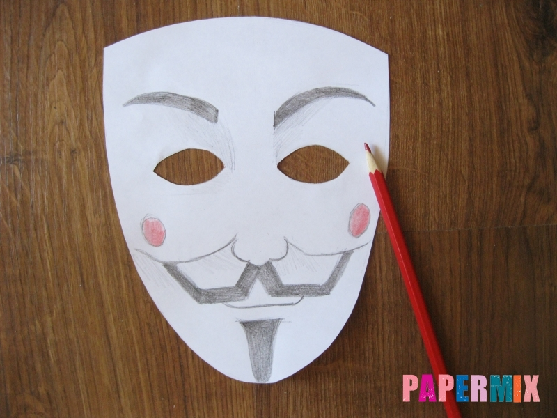 Как сделать маску Гая Фокса из бумаги своими руками - шаг 7