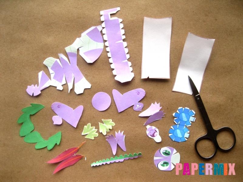 Как сделать дракончика Спайка из бумаги по шаблону своими руками - шаг 1