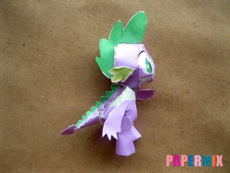 Как сделать дракончика Спайка из бумаги по шаблону своими руками - шаг 12