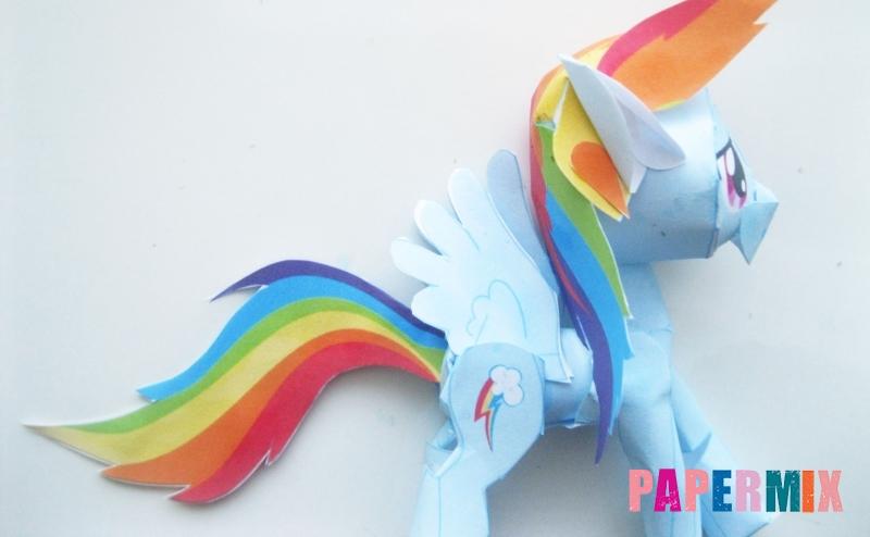 Как сделать объемную пони Радугу Дэш из бумаги по шаблону своими руками