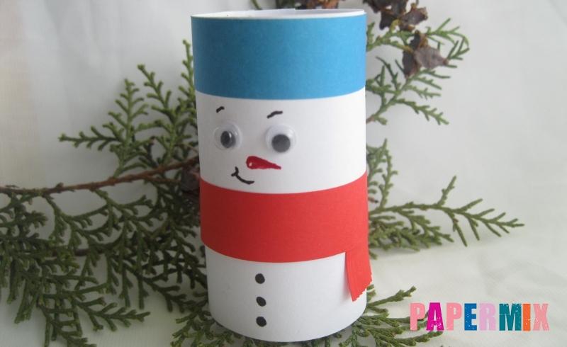 Как сделать объёмного снеговика из цветной бумаги своими руками поэтапно