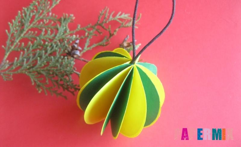 Елочный объемный новогодний шар из бумаги своими руками