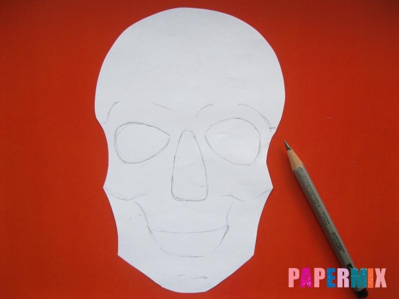 Как сделать маску скелета на хэллоуин из бумаги своими руками - шаг 3