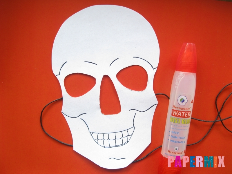 Как сделать маску скелета на хэллоуин из бумаги своими руками - шаг 9
