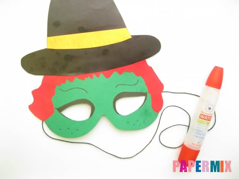 Как сделать маску ведьмы на хэллоуин из бумаги своими руками - шаг 11