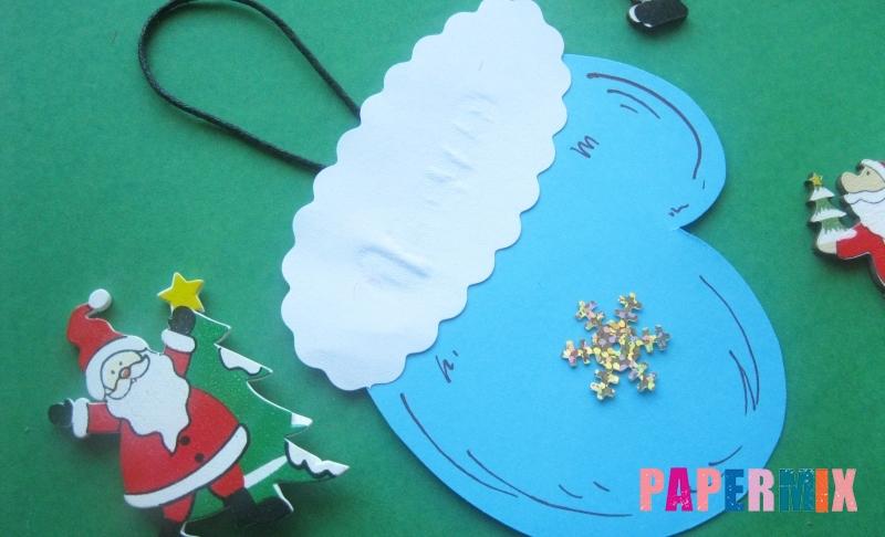 Как сделать новогоднюю рукавичку в виде игрушки на елку из бумаги своими руками