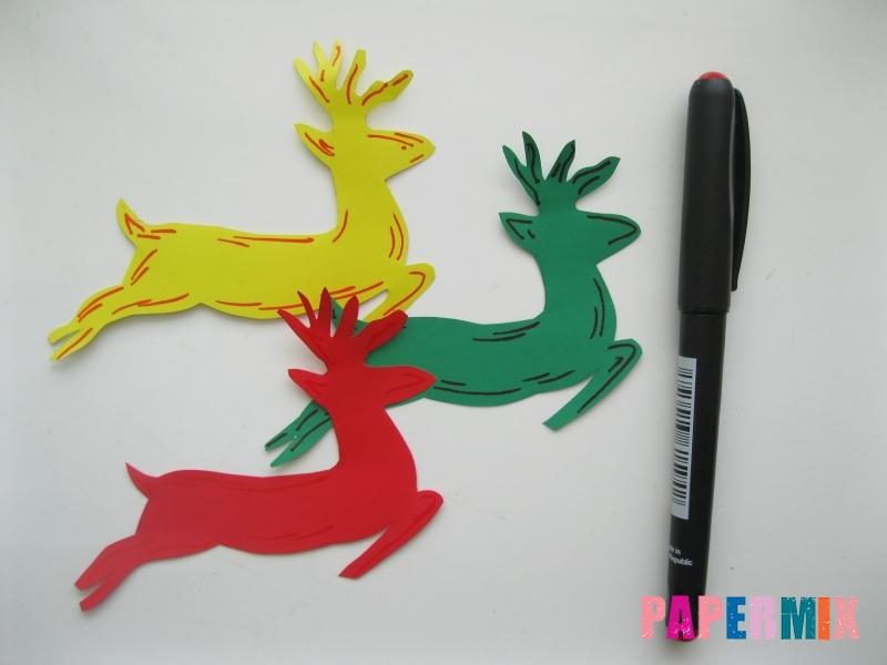 Новогодняя гирлянда в форме оленей из бумаги своими руками - шаг 4