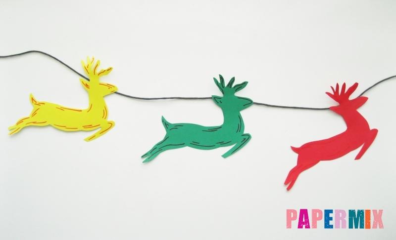 Как сделать новогоднюю гирлянду в форме оленей из бумаги своими руками