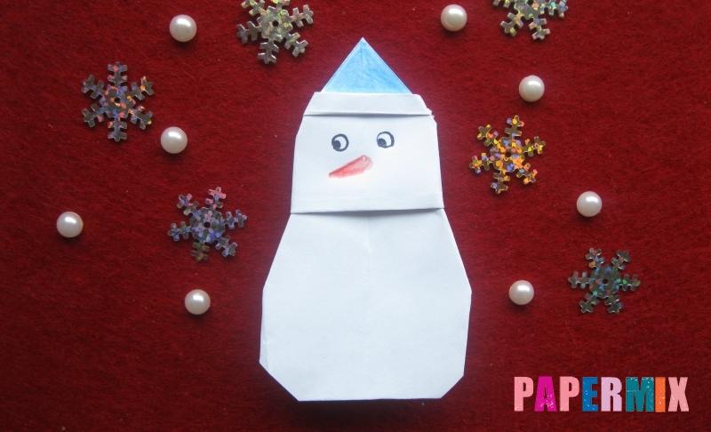 Снеговик из бумаги в технике оригами пошаговая инструкция