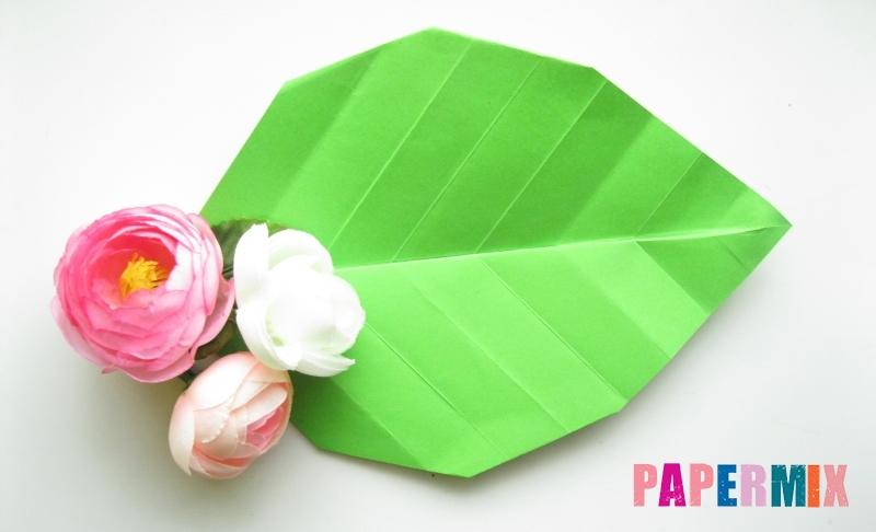 Зеленые листочки из гофрированной бумаги 72