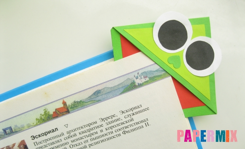 Как сделать закладку в форме мордочки лягушки из бумаги своими руками