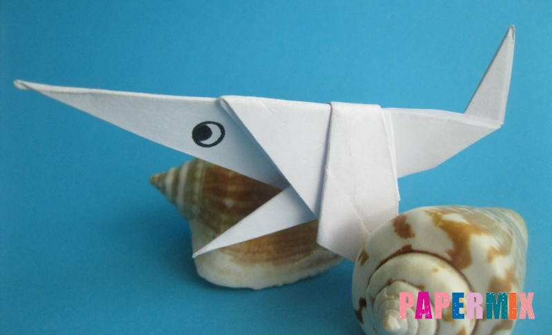 Как сделать акулу из бумаги в технике оригами своими руками
