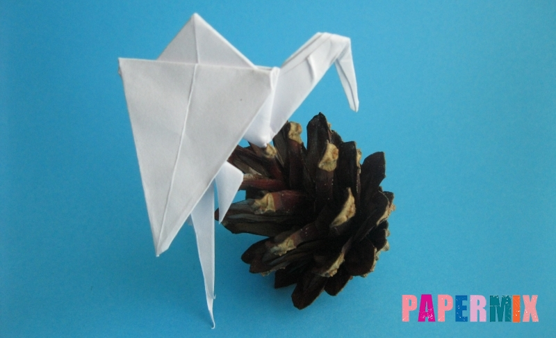 Как сделать цаплю из бумаги в технике оригами своими руками