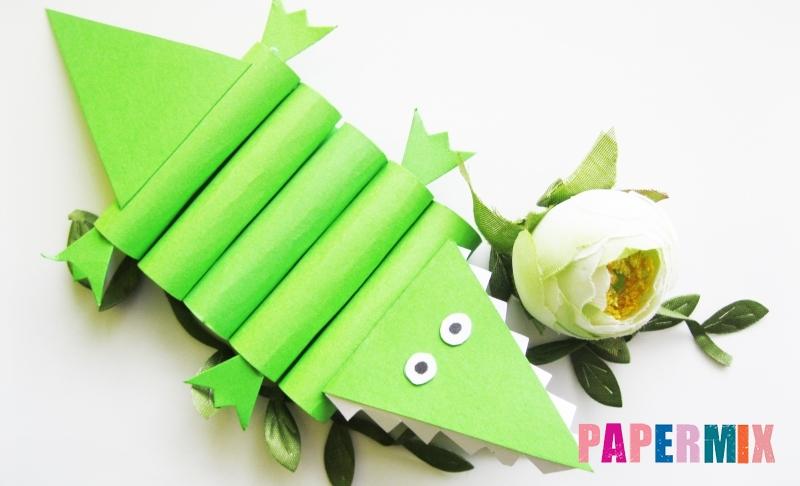 Как сделать крокодила из цветной бумаги своими руками
