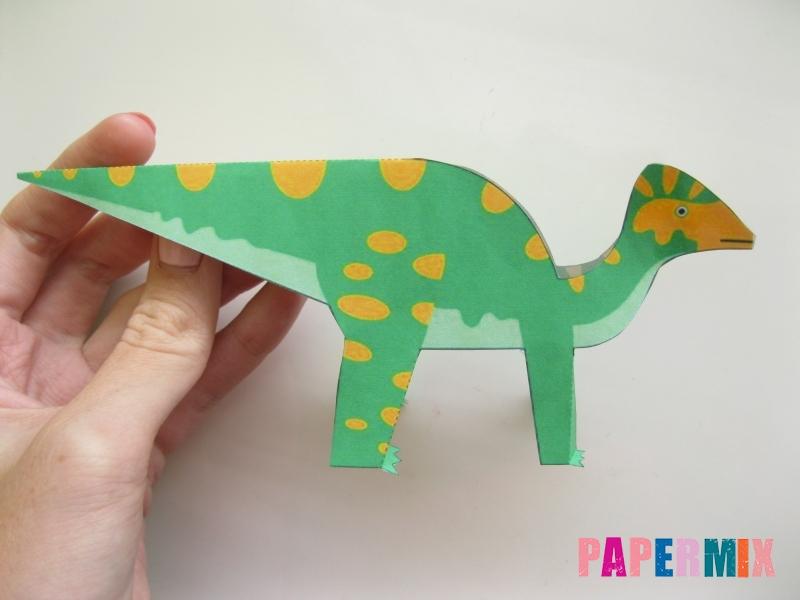 Как сделать объемного Гипакрозавра по шаблону из бумаги - шаг 6