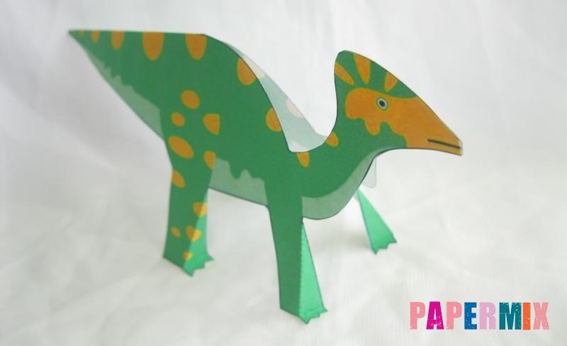 Как сделать объемного Гипакрозавра по шаблону из бумаги своими руками