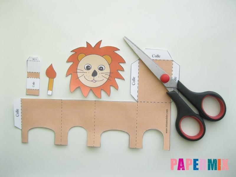 Как сделать объемного льва по шаблону из бумаги - шаг 1