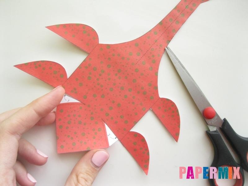 Как сделать объемного Плезиозавра по шаблону из бумаги - шаг 2