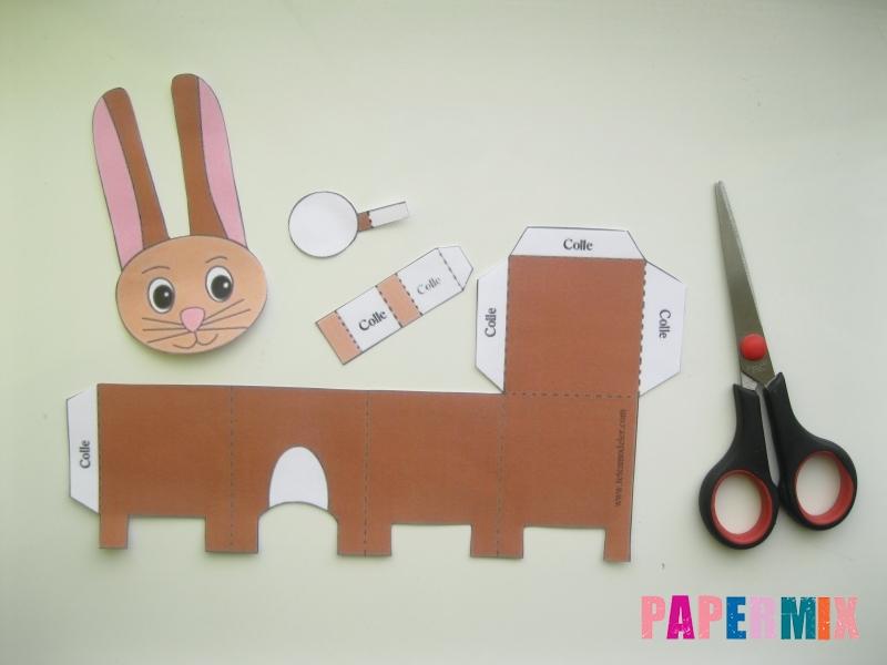 Как сделать объемного зайчика по шаблону из бумаги - шаг 1