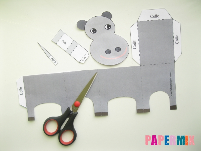 Как сделать объемную бегемота из бумаги по шаблону - шаг 1