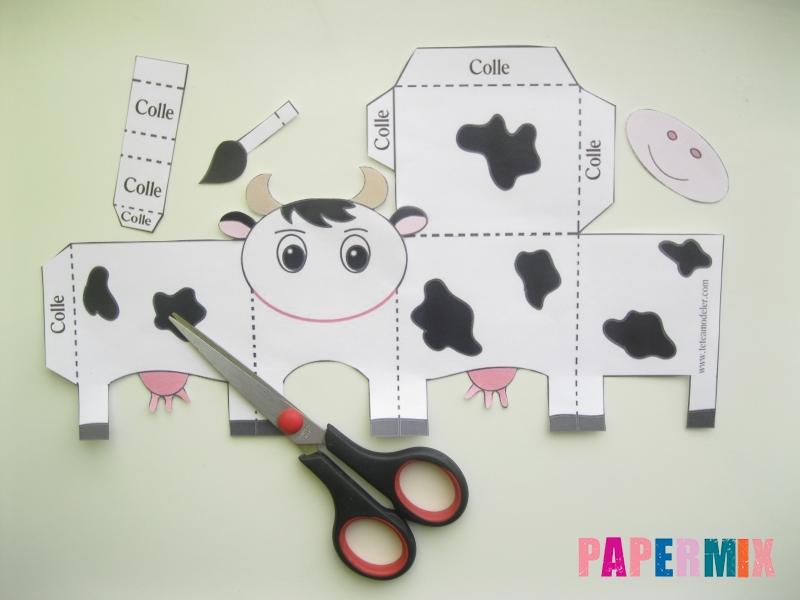 Как сделать объемную корову по шаблону из бумаги - шаг 1