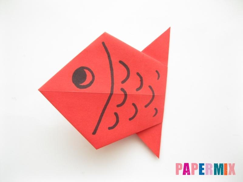 Как сделать рыбу из бумаги (оригами) инструкция - шаг 11