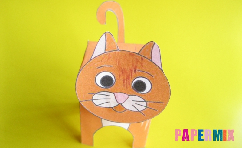 Как сделать объемного рыжего котенка по шаблону из бумаги своими руками