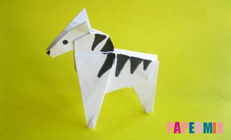 Как сделать зебру из бумаги в технике оригами своими руками поэтапно