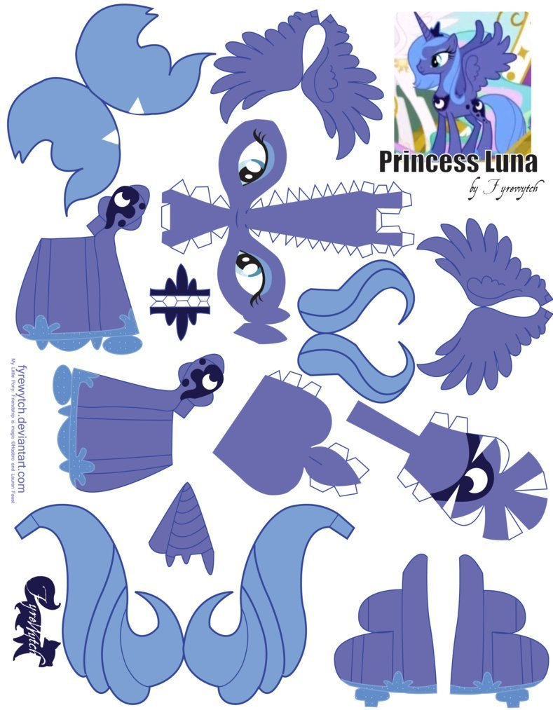 Как сделать Принцессу Луну по шаблону из бумаги своими руками