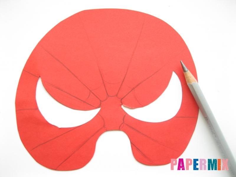 Как сделать маску человека паука из бумаги поэтапно - шаг 4