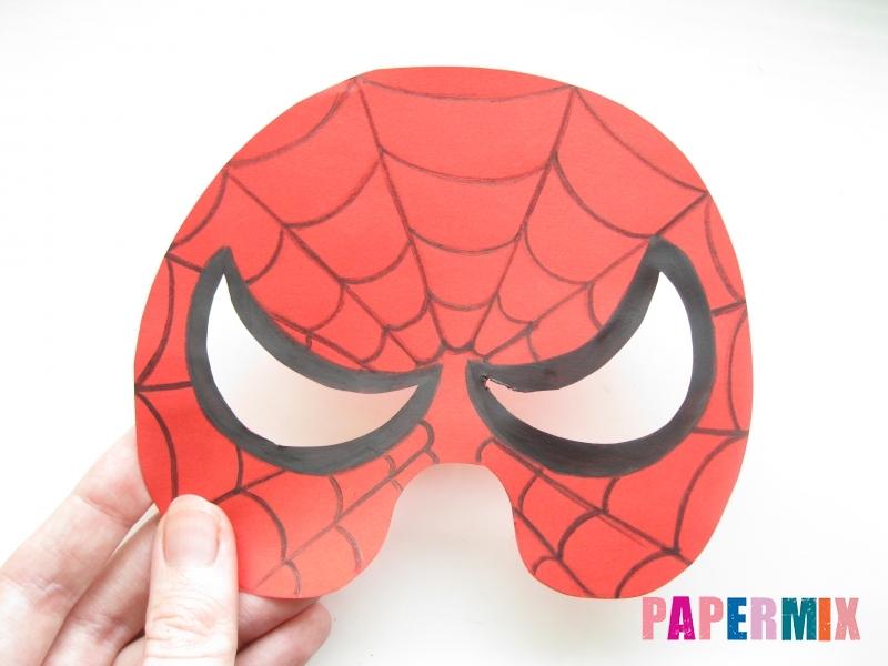 Как сделать маску человека паука из бумаги поэтапно - шаг 7