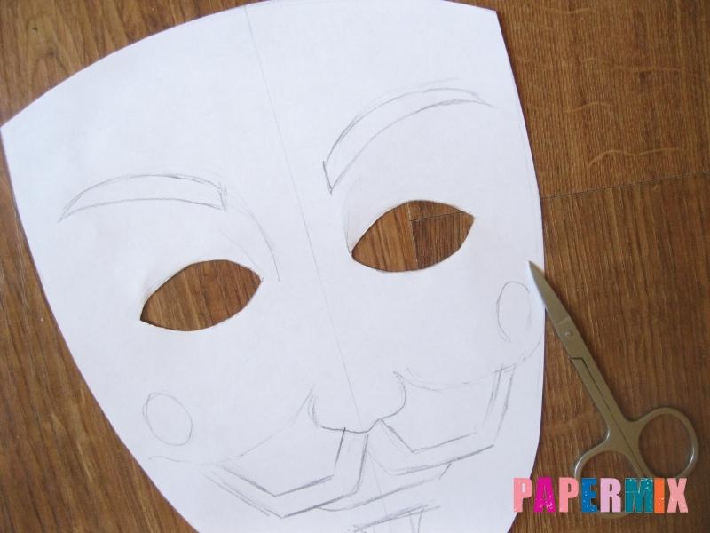 Как сделать маску Гая Фокса из бумаги своими руками - шаг 4