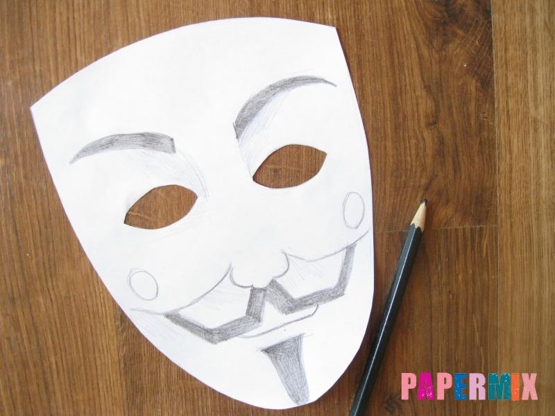 Как сделать маску Гая Фокса из бумаги своими руками - шаг 5
