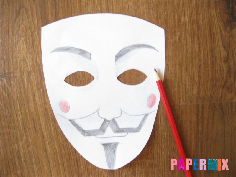Как сделать маску Гая Фокса из бумаги своими руками - шаг 6
