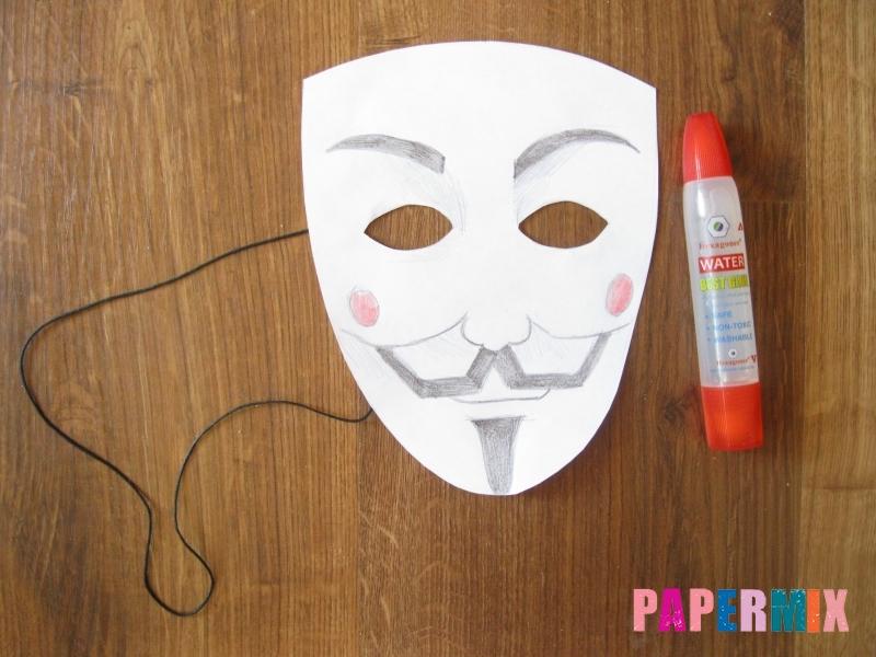 Как сделать маску Гая Фокса из бумаги своими руками - шаг 8