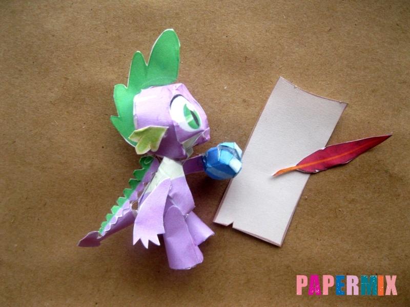 Как сделать дракончика Спайка из бумаги по шаблону своими руками - шаг 14