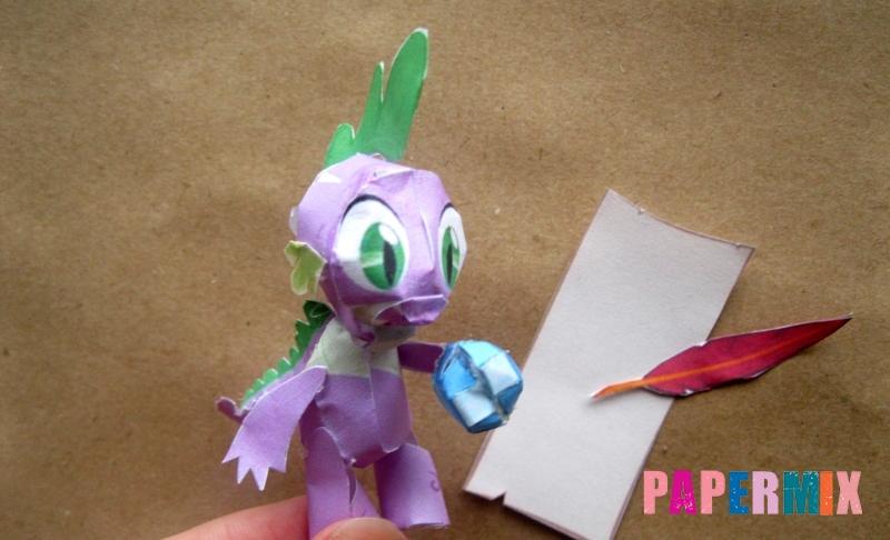 Как сделать объемного дракончика Спайка из бумаги по шаблону своими руками