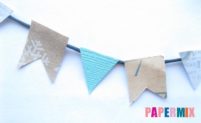 Как сделать бумажную гирлянду из флажков к Новому Году своими руками