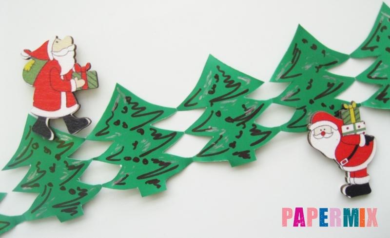 Как сделать новогоднюю гирлянду в форме елочек из бумаги своими руками