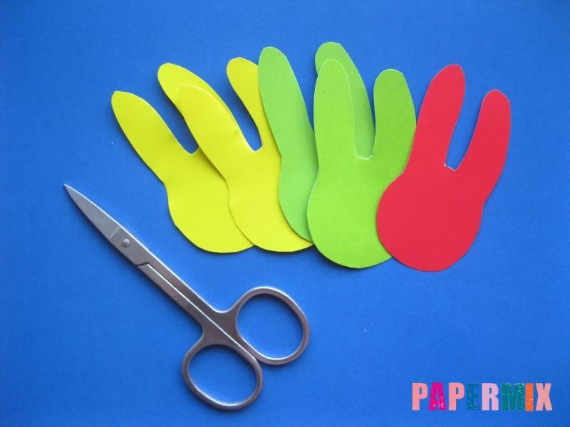 Как сделать гирлянду из бумажных зайчиков своими руками - шаг 1