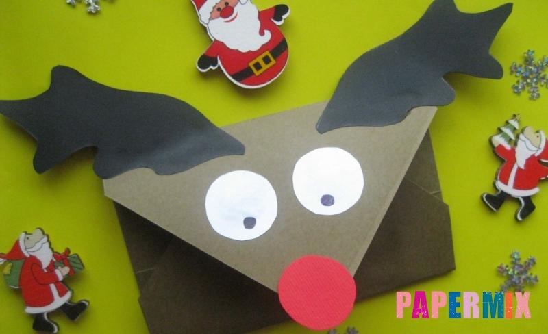 Конверт из бумаги в виде оленя к Новому году своими руками
