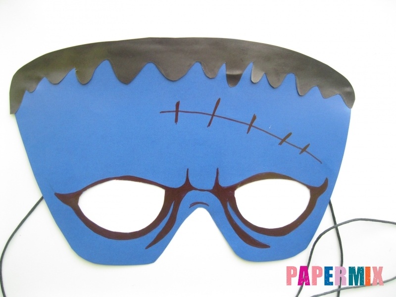 Как сделать маску Франкенштейна на хэллоуин из бумаги - шаг 10