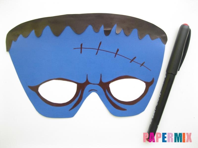 Как сделать маску Франкенштейна на хэллоуин из бумаги - шаг 7