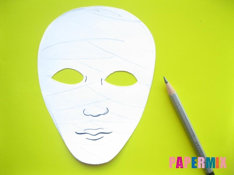 Как сделать маску мумии из бумаги на хэллоуин своими руками - шаг 6