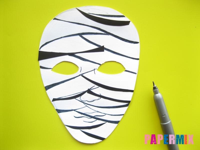 Как сделать маску мумии из бумаги на хэллоуин своими руками - шаг 8