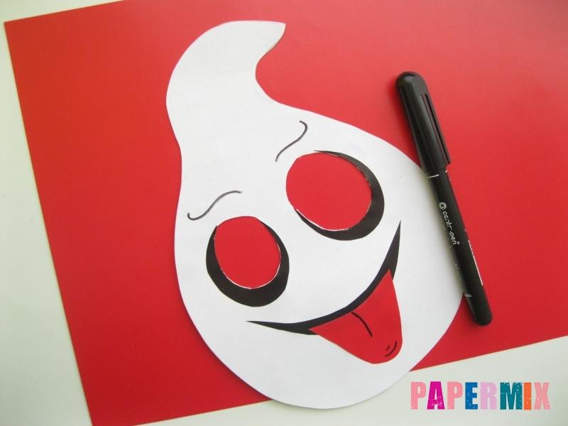Как сделать маску привидения на хэллоуин из бумаги - шаг 7