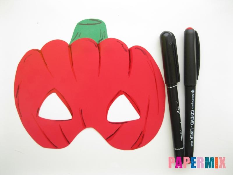 Как сделать маску тыквы на хэллоуин из бумаги своими руками - шаг 8