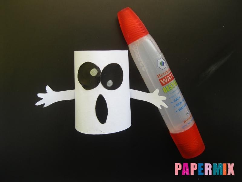 Как сделать объемное привидение из бумаги на хэллоуин - шаг 6